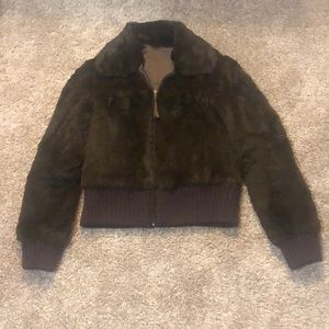 Barney's Rabbit Fur Reversible Bomber Jacket